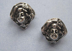 Art Nouveau Sterling Pins by Unger Bros.