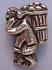 Mexican Sterling Figural Pin, c. 1950