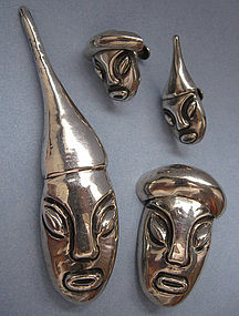 Mexican Sterling Figural Pins and Earrings Set
