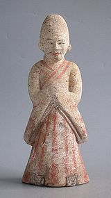 Rare Chinese Early Tang Dynasty Painted Pottery Figure