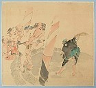 Japanese Shijo Drawing Sumo Wrestlers Attrib. Gessho