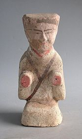 Chinese Han Dynasty Painted Pottery Figure