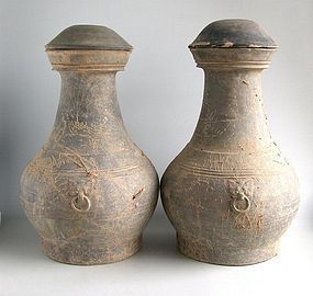 Pair of LARGE Chinese Han Dynasty Covered Pottery Jars