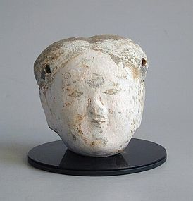 Chinese Han Dynasty Painted Pottery Head - Female