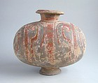 Chinese Western Han Dynasty Painted Pottery Cocoon Jar