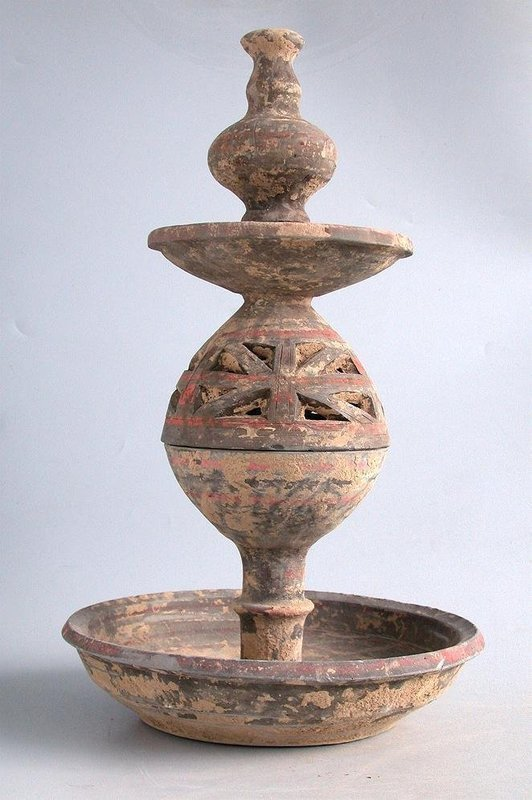 Tall Chinese Han Dynasty Painted Pottery Incense Burner