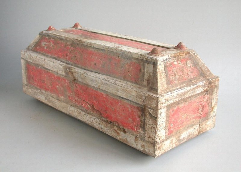 Large Chinese Han Dynasty Painted Pottery Box
