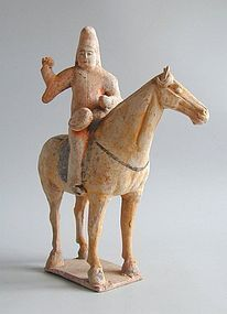 Chinese Tang Dynasty Painted Pottery Horse & Musician Rider