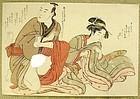 Japanese Woodblock Shunga Print Attrib. Shuncho 1790s.