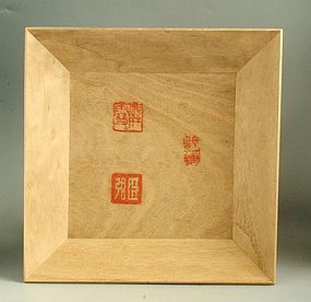Japanese Wood Tray Commemorating Kyoto Painter Kansetsu inc. Tomobako