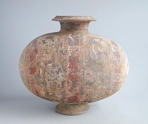 Chinese Western Han Dynasty Painted Pottery Cocoon Jar (206 BC - AD 8)