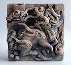 Chinese Ming Dynasty Painted Pottery Tile - Qilin, Moon