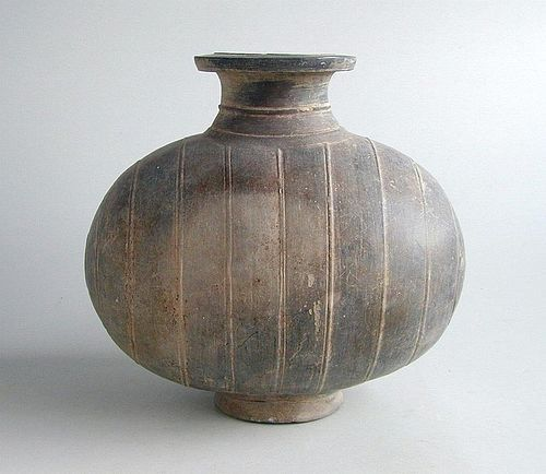 Rare Chinese Qin / Early Western Han Dynasty Pottery Cocoon Jar