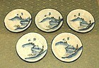 Set Five Japanese Seto Ware Stoneware Mingei Dishes. Meiji Period