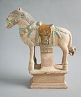 Large Chinese Ming Dynasty Glazed & Painted Pottery Horse