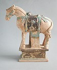 Large Chinese Ming Dynasty Glazed & Painted Pottery Horse + TL Test