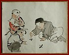 Japanese Brush Drawing of Children Playing. Attrib. to Kyosai. Meiji