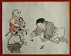Japanese Brush Drawing of Children Playing. Attrib. to Kyosai. Meiji
