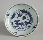 Chinese Ming Dynasty Blue & White Porcelain Dish - Deer