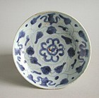 Chinese Ming Dynasty Blue & White Porcelain Dish