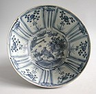 Large Chinese Ming Dynasty Blue & White Porcelain Bowl