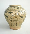 Large Chinese Yuan / Early Ming Dynasty Blue & White Jar