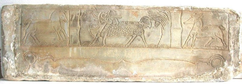 Large Chinese Ming Dynasty Stone Panel - Horse / Qilin / Deer