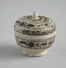 Small Thai 14th - 15th Century Sawankhalok Stoneware Jar / Box