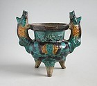 Rare Chinese Ming Dynasty Glazed Pottery Censer with Boar Handles
