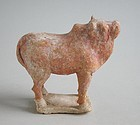 Small Chinese Tang Dynasty Painted Pottery Ox