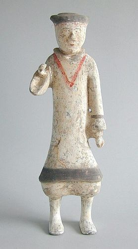 Tall Chinese Western Han Dynasty Painted Pottery Soldier