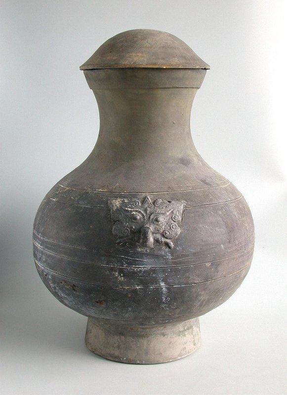 LARGE Chinese Han Dynasty Pottery Hu Jar with Cover (206 BC - AD 220)