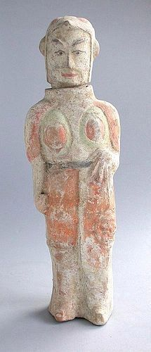 Tall Chinese Northern Wei Dynasty Painted Pottery Warrior with Shield
