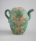 Rare Chinese Ming Dynasty Glazed & Incised Pottery Ewer - Kochi Ware