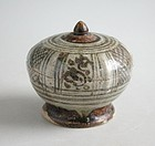 Thai 14th - 15th Century Sawankhalok Covered Footed Box