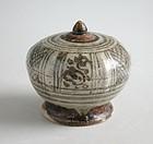 Thai 14th - 15th Century Sawankhalok Covered Footed Box