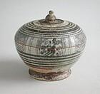 Large Thai 14th - 15th Century Sawankhalok Covered Footed Box