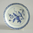 Fine Chinese Ming Dynasty Blue & White Porcelain Dish - Peach & Bird