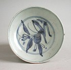Small Chinese Ming Dynasty Blue & White Porcelain Dish - Peach & Bird
