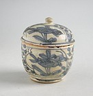 Chinese Ming Dynasty Blue & White Porcelain Covered Jar