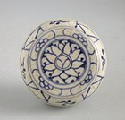Vietnamese 15th Century Blue & White & Enamelled Covered Box