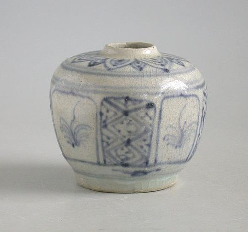 Vietnamese 15th Century Blue & White Octagonal Jar