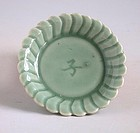 Small Chinese Ming Dynasty Longquan Celadon Porcelain Dish