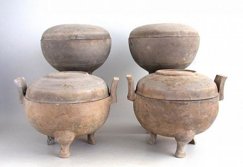 Set of Four Chinese Han Dynasty Pottery Food Containers with TL Test