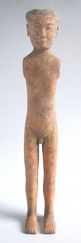 "Tall Chinese Han Dynasty Painted Pottery Yangling ""Stick"" Figure"