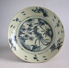 Rare Large Chinese Ming Dynasty Blue & White Swatow Dish