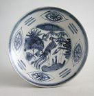 Fine Large Chinese Ming Dynasty Blue & White Swatow Dish (rare pattern
