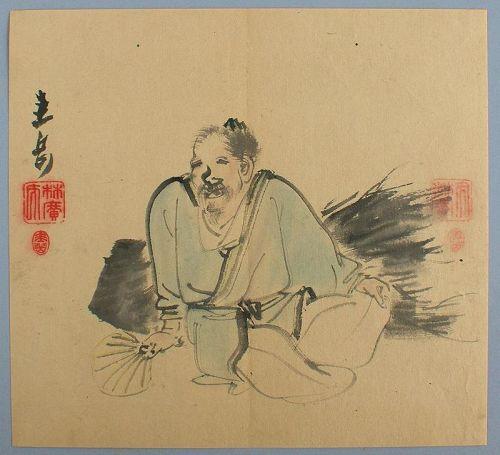 Japanese Shijo Brush Drawing by Harada Keigaku ca. 1850