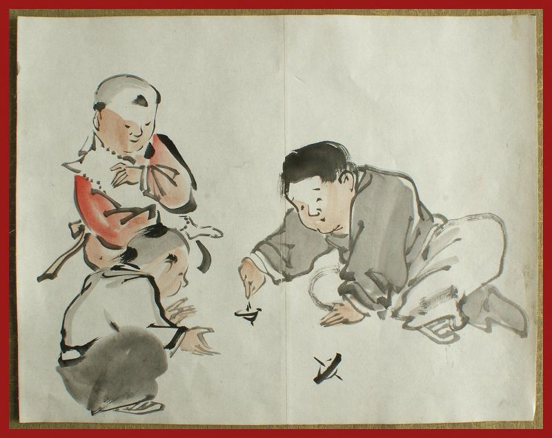 Japanese Brush Drawing of Children Playing. Attrib. to Kyosai (Meiji)