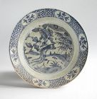 Large Chinese Ming Dynasty Blue & White Porcelain Dish - Phoenix